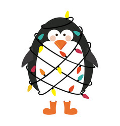 Silhouette of penguin with boots and involved in vector