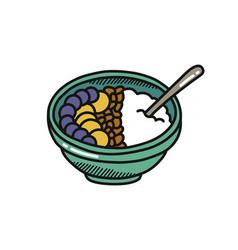 Smoothie bowl doodle icon color vector