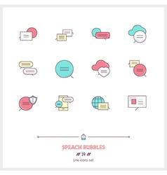 Speech Bubbles Line Icons Set vector image