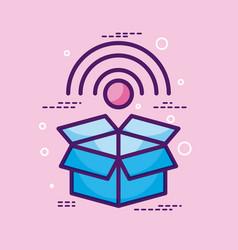 Storage box wifi internet technology pink vector