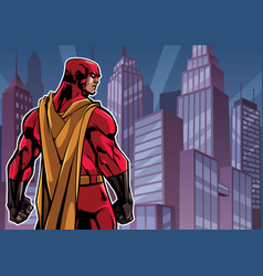 superhero back in city vector image