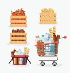 Supermarket colorful set with shelf and baskets vector