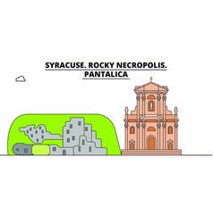syracuse rocky necropolis - pantalica line trave vector image