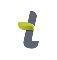 T letter eco logo with green leaf vector