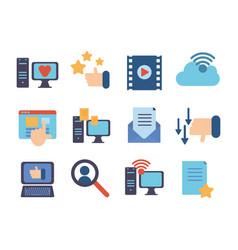 technology data digital multimedia icons set vector image