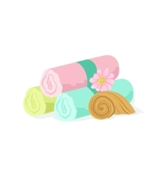 Three Pastel Color Towel Rolls Piled Mext To Shell vector