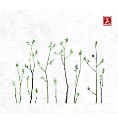 Tree branches with fresh green leaves on rice vector
