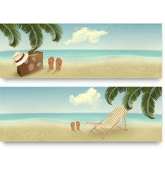 Two retro summer vacation banners vector image