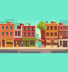 Urban street landscape with small shop restaurant vector