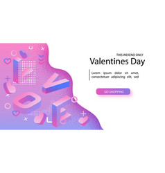 valentines day sale offer banner template red vector image