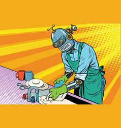 Vintage worker robot washes dishes vector