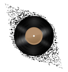 Vinyl disc with music notes flying out on white vector