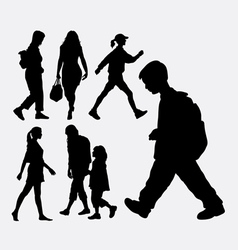 Walking people silhouette vector image