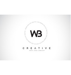 Wb w b logo design with black and white creative vector