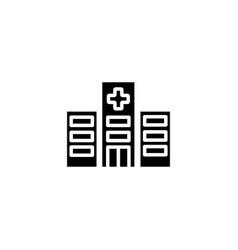 web line icon hospital black on white background vector image