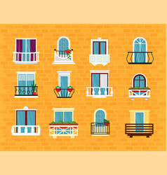 window with balcony set beautiful classic balcony vector image
