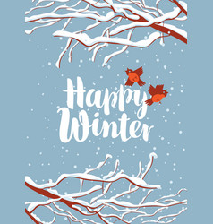 Winter banner with snow-covered branches and birds vector