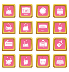 Woman bag types icons set pink square vector