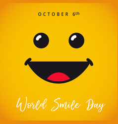 World smile day october 6 card vector