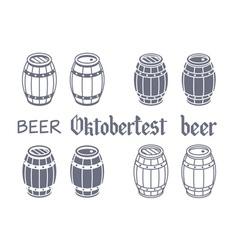 Barrels set beer oktoberfest wood vector image