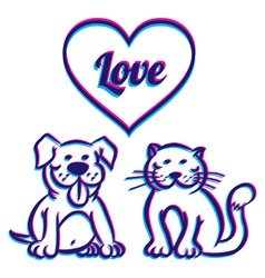 Cat and dog 3D vector image