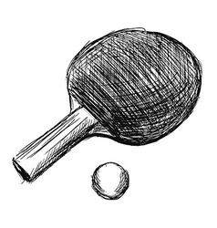 Hand sketch table tennis racket and ball vector image