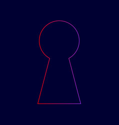keyhole sign line icon with vector image