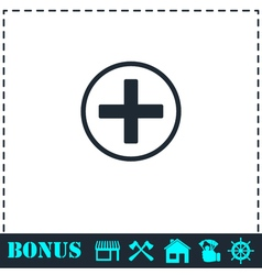 Medical cross icon flat vector image