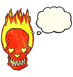 cartoon flaming skull with love heart eyes with vector image
