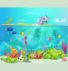 cartoon sea life template vector image