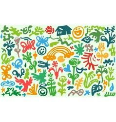 flowers spring - doodles set vector image