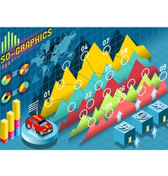Isometric Infographic Histogram Set Elements with vector image