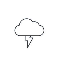 lightning thunderstorm cloud weather thin line vector image vector image
