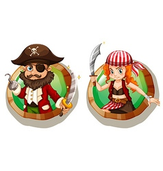 Male and female pirates on badges vector image vector image