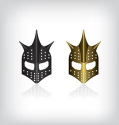 Medieval black and gold warrior helmet vector image