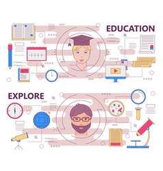 thin line flat design education and explore vector image vector image