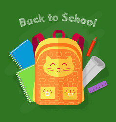 Back to school orange bag on green background vector