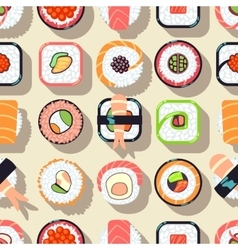 Japanese food sushi seamless pattern vector image vector image