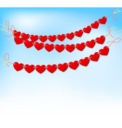 love heart bunting on blue sky vector image vector image