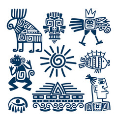 maya or inca blue totem icons vector image