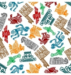 Mayan and aztec tribal totems seamless pattern vector image