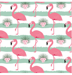 pattern with stripes and flamingos vector image