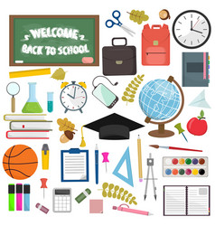 school and education workplace items flat vector image vector image