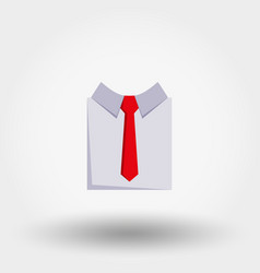 shirt with red nectie flat icon vector image vector image