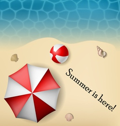Beach text frame with umbrella and ball vector image vector image
