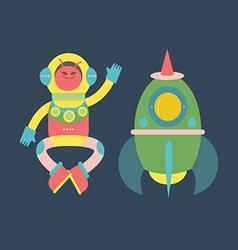 Cute alien with rocket vector image vector image