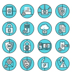 Data protection icons blue line vector image vector image