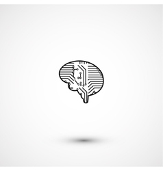 Flat electric circuit brain icon vector image