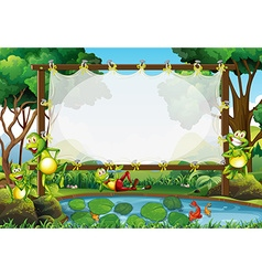 Frame design with frogs in the pond vector image