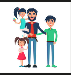 happy father of many children vector image